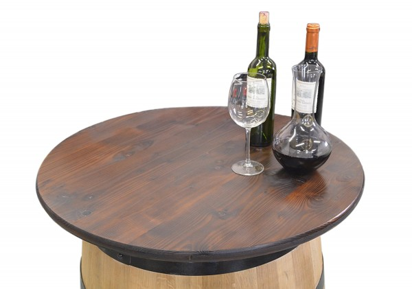 Tabla de madera como superficie para barriles de vino, color nogal